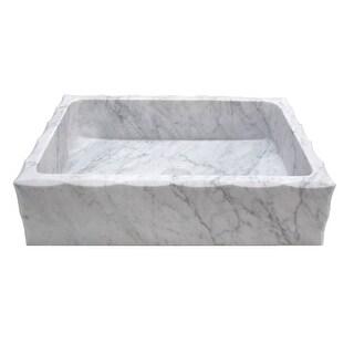 Eden Bath Antique Rectangular Carrara Marble Vessel Sink Honed