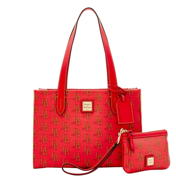 Dooney & Bourke 1975 DB Signature Sm Shopper & Med Wristlet (Introduced by Dooney & Bourke at $228 in Feb 2017) - Red