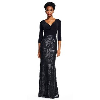 Adrianna Papell Sequin Floral Lace Dress with Draped Jersey Bodice, Black, 18W