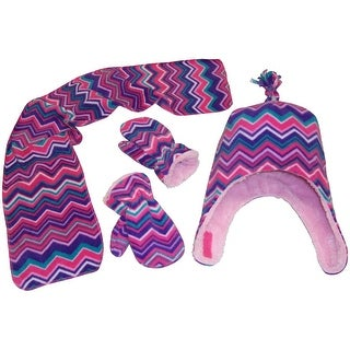 NICE CAPS Girls Chevron Soft Sherpa Lined Hat/Scarf/Mitten Set - purple/fuchsia/pink/turq/white