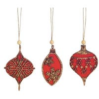 Pack of 12 Decorative Wooden Red and Brown Ornaments