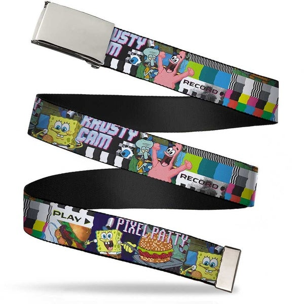 Blank Chrome Buckle Krusty Krab Cam Scenes Pixel Patty Krusty Cam Web Belt