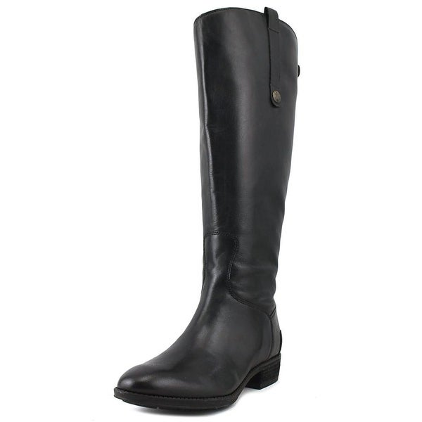 Sam Edelman Penny 2 Wide Calf Women Round Toe Leather Black Knee High Boot