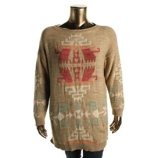 Lauren Ralph Lauren Womens Tunic Sweater Boatneck Aztec Print