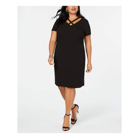 CONNECTED APPAREL Black Short Sleeve Above The Knee Dress 16W