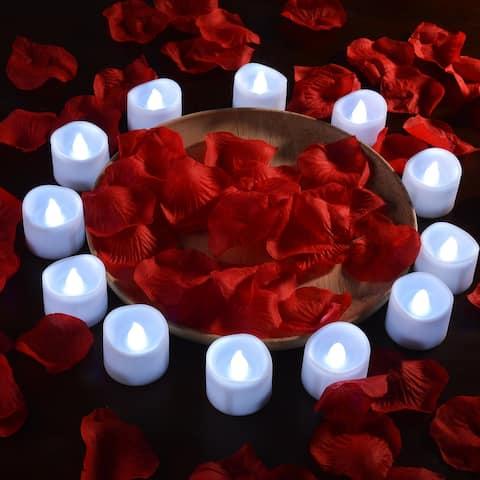 Image 12 PCS LED Tealight Candles Battery W/ 100 PCS Decorative Fake Rose Petals, Cool White