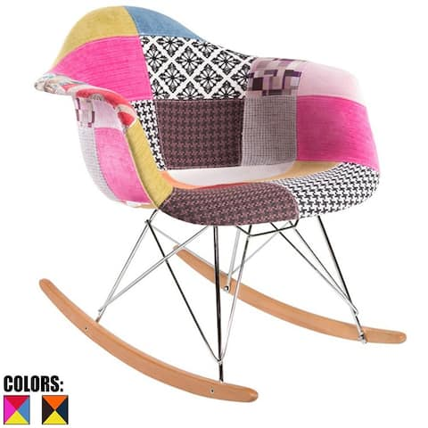 Fabric Upholstery Patchwork Patterned With Arms Armchair Rocking Rocker Rock Chair For Kids Nursery Living Room Bedroom