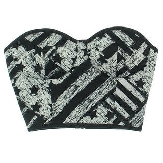 Material Girl Womens Printed Strapless Crop Top - XS