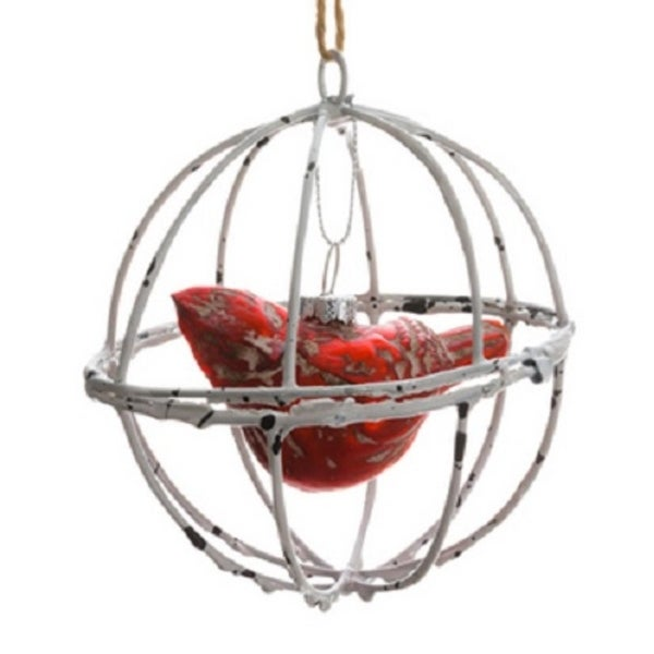 "4"" Country Cabin Distressed Cardinal in Wood Like Ball Cage Decorative Christmas Ornament"