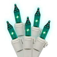 Set of 50 Teal Green Mini Christmas Lights - White Wire