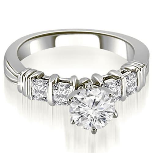 1.20 cttw. 14K White Gold Bar Setting Princess Cut Diamond Promise Ring