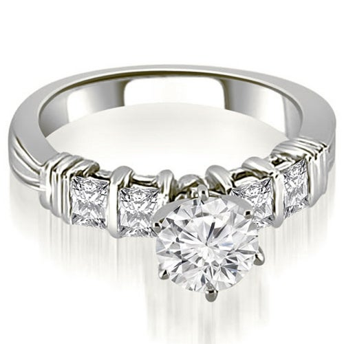 1.45 cttw. 14K White Gold Bar Setting Princess Cut Diamond Promise Ring