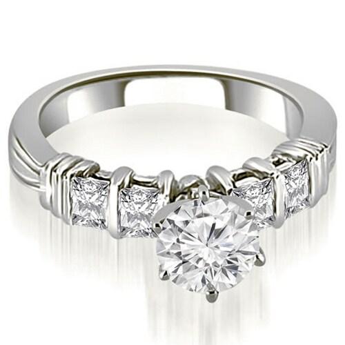 1.70 cttw. 14K White Gold Bar Setting Princess Cut Diamond Promise Ring