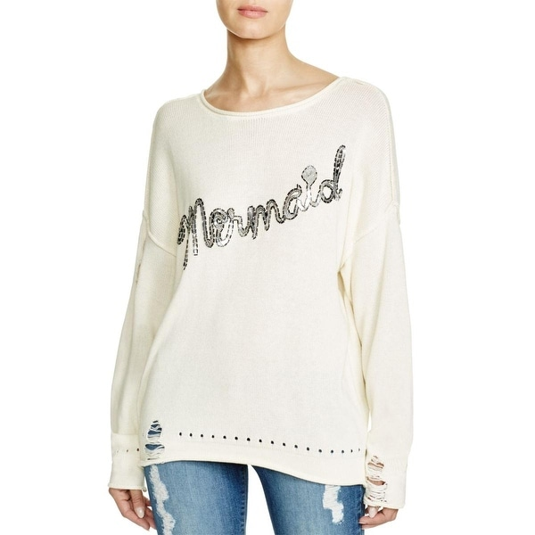 Wildfox Couture Womens Meramid Sweater Jewel Neck Sequined