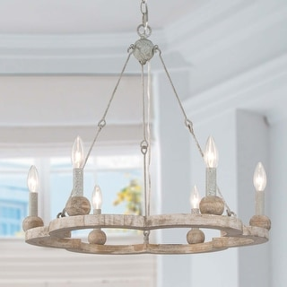 """Link to Modern & Contemporary Candle Chandelier Lighting Antique Wood Wagon Wheel Pendant - L 23.6"""" x W 23.6 """"x H 22.8"""" Similar Items in Chandeliers"""