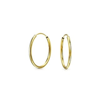 Bling Jewelry Thin Classic 14K Yellow Gold Endless Hoop Earrings 12mm