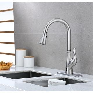Runfine Brisbane Single Handle Pull-Down Sensor Kitchen Faucet Brushed Nickel Finish