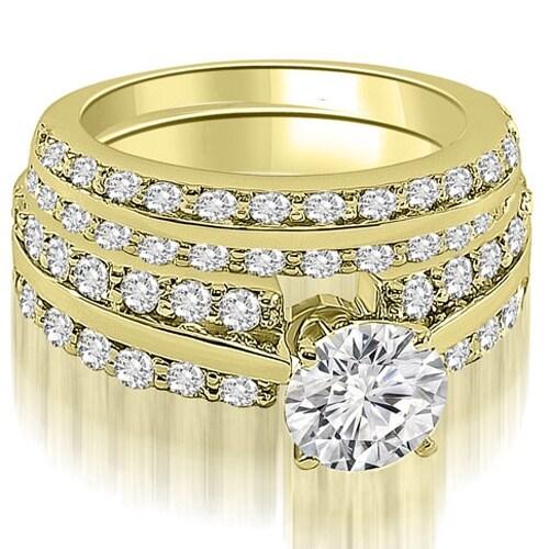 2.60 cttw. 14K Yellow Gold Two Row Round Cut Diamond Bridal Set