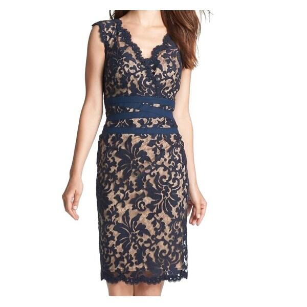 195a646b9660 Tadashi Shoji NEW Navy Blue Women's Size 10 Floral Lace Sheath Dress