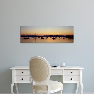 Easy Art Prints Panoramic Images's 'Silhouette of boats in a lake, Lake Champlain, Vermont, USA' Premium Canvas Art