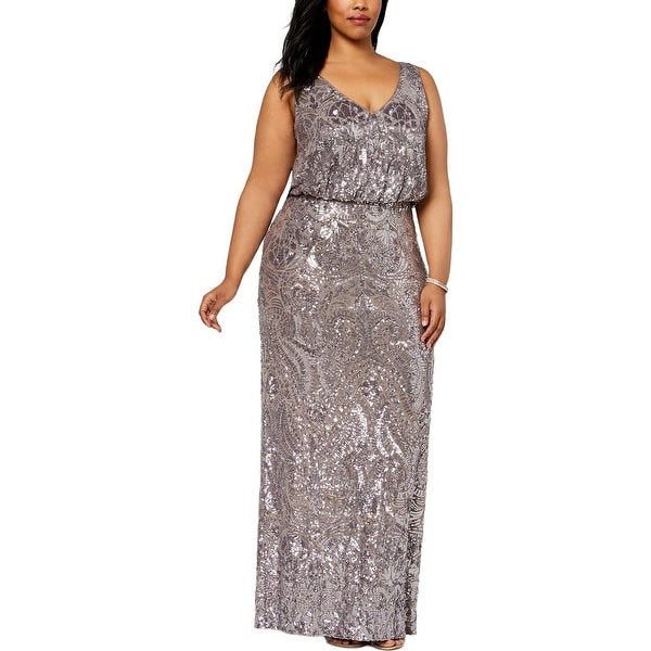 Betsy & Adam Womens Plus Evening Dress Sleeveless Full-Length