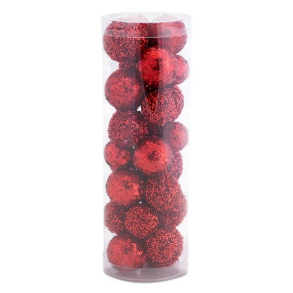 Pack of 25 Red Glittered and Sequined Decorative Christmas Balls