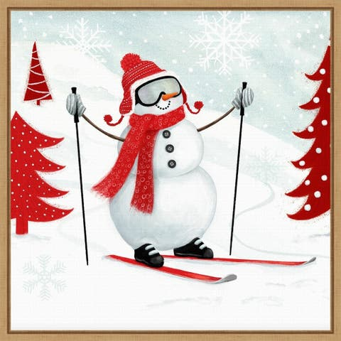 Snow Day I Snowman Skiing by Victoria Borges Framed Canvas Art