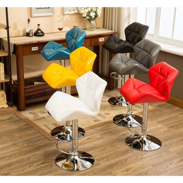 Glasgow Faux Leather Tufted Adjustable-height Bar Stools (Set of 2). Opens flyout.