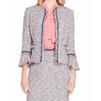 Tahari by ASL Blue Womens Size 16 Tweed Fray Trim Open Front Jacket