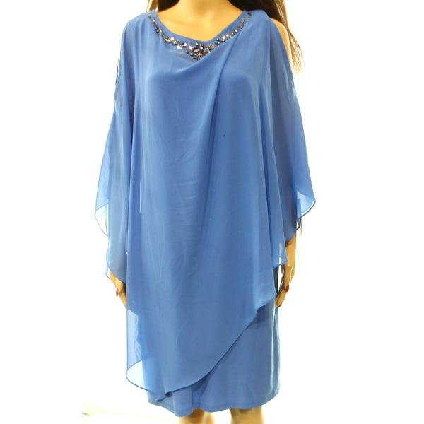 SLNY NEW Blue Jeweled Chiffon Women's Size 14 2-Piece Sheath Dress Set