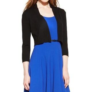 Calvin Klein Womens Cardigan Sweater Silk Blend Ribbed Trim