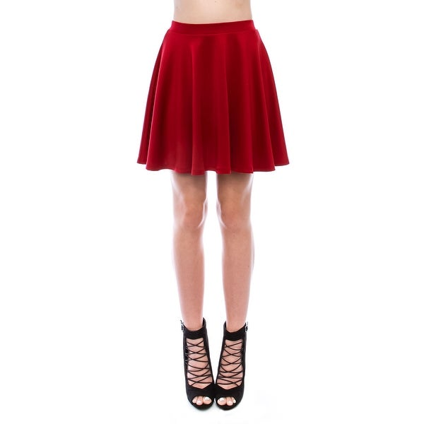 b84dc88ae30ca7 Shop Simply Ravishing Women's Basic Stretch Flared Skater Mini Skirt ...