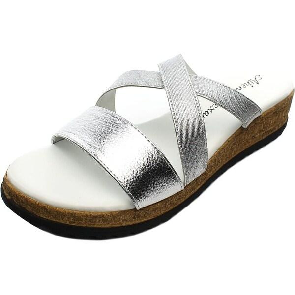 Athena Alexander Blast Women Open Toe Synthetic Silver Slides Sandal