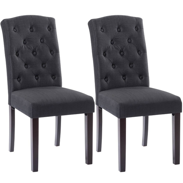 Accent Dining Room Chairs: Shop Costway Set Of 2 Linen Fabric Wood Accent Dining