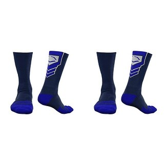 EvoShield Performance Crew Socks (Navy Blue w/ Royal / Large / 2 Pair)