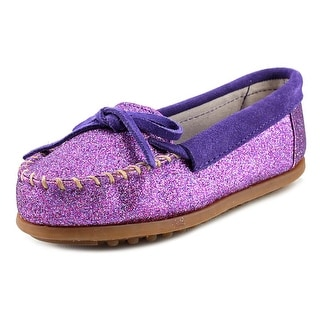 Minnetonka Glitter Moccasin Youth Round Toe Synthetic Purple Loafer