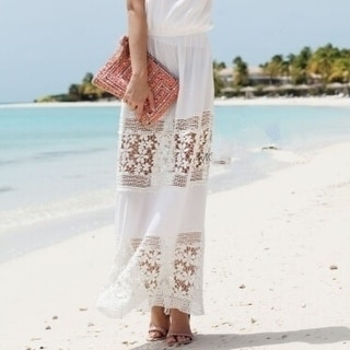 Link to Sleeveless Strapless Solid White Long Sexy Dress Women Patchwork Hollow Out Beach Sexy Lace Chiffon Dress Similar Items in Athletic Clothing
