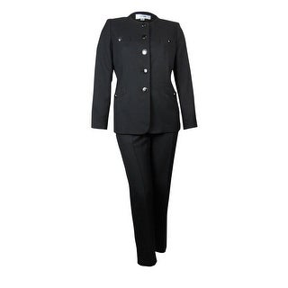 Le Suit Women's Scoop Neck Crepe Tuscany Pant Suit - Black