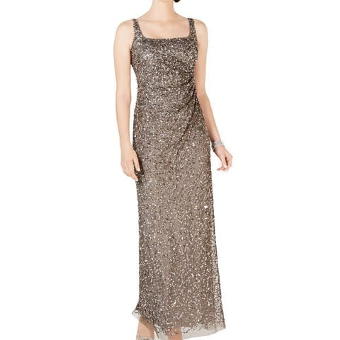 Adrianna Papell Womens Dress Lead Gray 2 Sequin Mesh Square Neck Gown