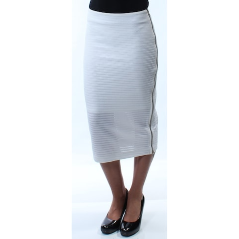 KIIND OF Womens White Zippered Below The Knee Pencil Skirt Size: XS