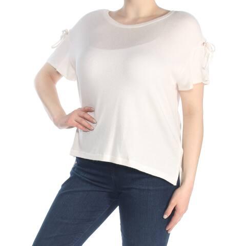 JESSICA SIMPSON Womens Ivory Short Sleeve Jewel Neck Top Size: XL