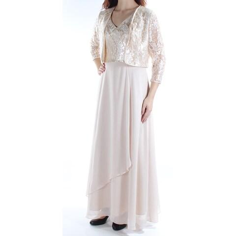 Womens Gold Sleeveless Maxi Sheath Prom Dress Size: 10