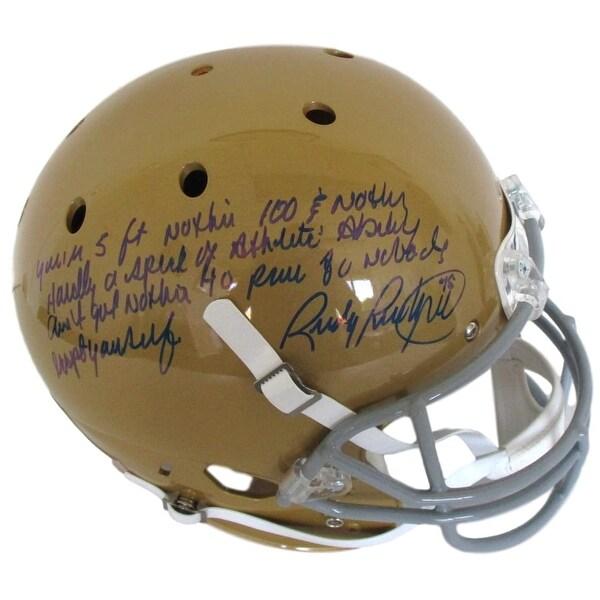 fd598ec9284 Rudy Ruettiger Signed Notre Dame Irish FS Replica Helmet 5 Foot Nothin  Steiner