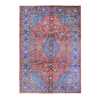 """Shahbanu Rugs New Persian Mahal Full Pile Clean and Soft Burnt Orange Pure Wool Hand Knotted Oriental Rug (7'4"""" x 11'3"""")"""