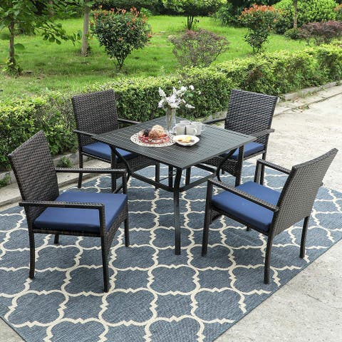 "PHI VILLA Seats up to 4 Patio Dining Sets Includes 37"" Square Metal Bistro Table with 1.57"" Umbrella Hole and 4 Rattan Chairs"