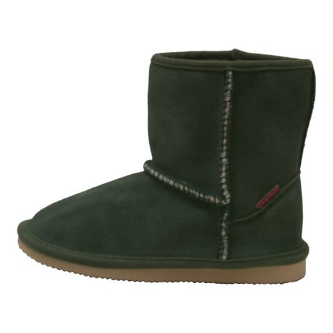 Girls Green Faux Shearling Lined Comfy Ankle Boots 11-3 Kids