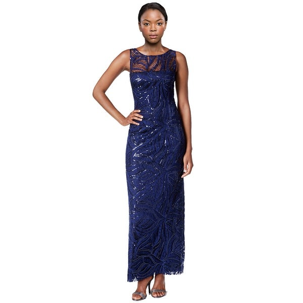 124c58d2c1 Tahari ASL Embroidered Sequined Illusion Evening Gown Dress - 4