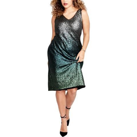 Rachel Roy Womens Plus Cocktail Dress Metallic Ombre