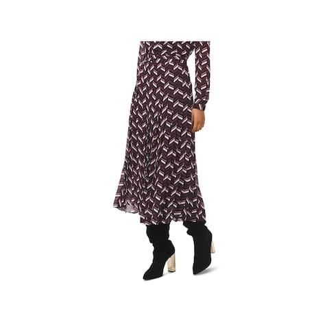 MICHAEL Michael Kors Womens A-Line Skirt Pleated Chevron
