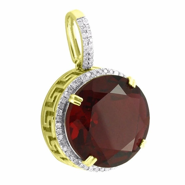 Solitaire Red Ruby CZ Pendant Greek Medusa 10k Yellow Gold Real Diamonds Hip Hop